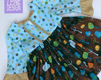 Great Outdoors cotton dress #652 One-of-a-kind handmade kids dress