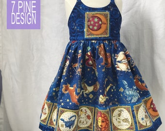 Zodiac Sign child's dress #645,  handmade cotton sundress
