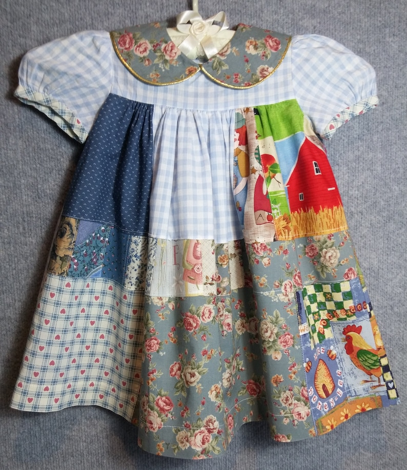 4874a5ffe4891 Little girls old-fashioned patchwork dress