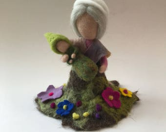 Mother earth.Root-child.Waldorf. Wet  felted Waldorf