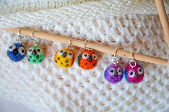 Light blue with brown swirls beaded stitch markers with owl charm