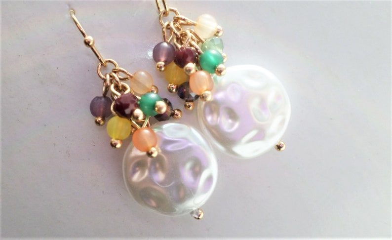 Woman Gift Mother/'s Gift Bridal Pearl Cluster Gold Earrings Wife Gift Pearl Cluster Earrings Wedding Jewelry