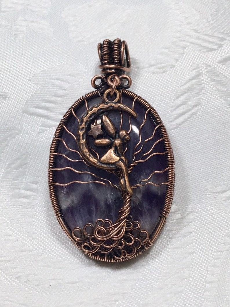 Amethyst Tree of Life Fairy Pendant in Copper