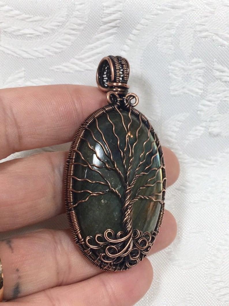 Labradorite Tree of Life Pendant in Copper