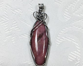Rhodonite Pendant, Sterling Silver, Wire Wrapped