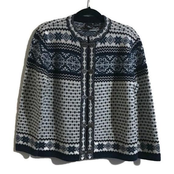Vintage SKYR Wool Nordic Fair Isle Cardigan Blue