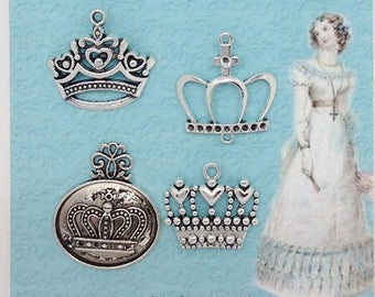 Charms Appliques Metal Crowns Embellishments Silver tone   -  XA015