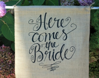 Here Comes the Bride pennant burlap ON SALE