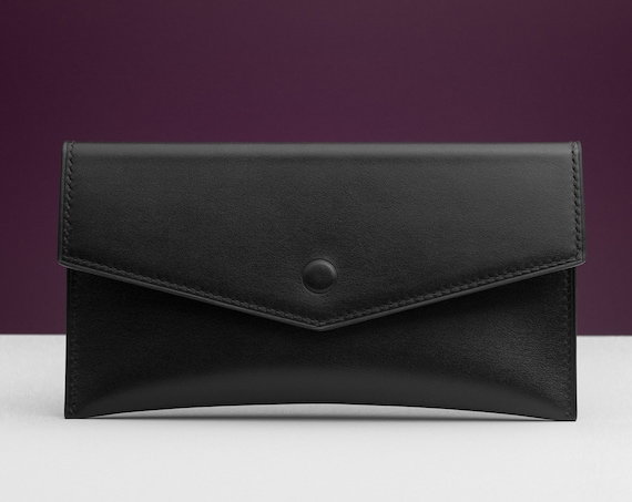 Hand-stitched Leather Clutch Bag