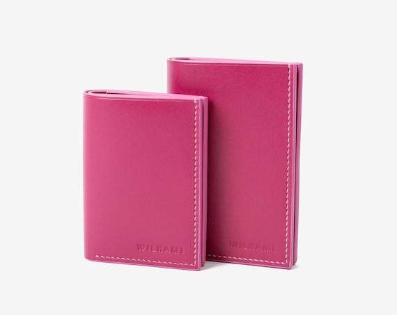 Handstitched Leather Wallet for Her / Card Wallet / 2 Size Variations / Barbie Pink