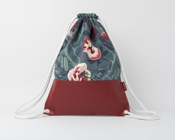 Drawstring Backpack / Cotton & Leather Backpack / Drawstring Bag / Women's Backpack / Gym Bag / Festival Backpack / Floral Pattern