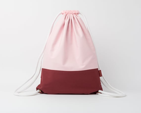 Drawstring Backpack / Cotton Fabric Backpack / Drawstring Bag / Women's Backpack / Gym Bag / Festival Backpack / Maroon & Baby Pink
