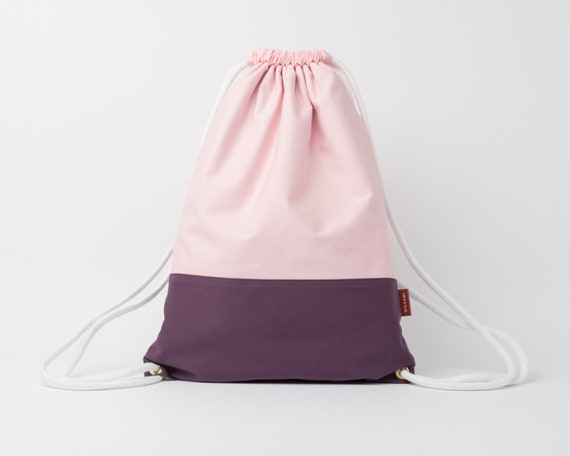 Drawstring Backpack / Cotton Fabric Backpack / Drawstring Bag / Women's Backpack / Gym Bag / Festival Backpack / Purple & Baby Pink
