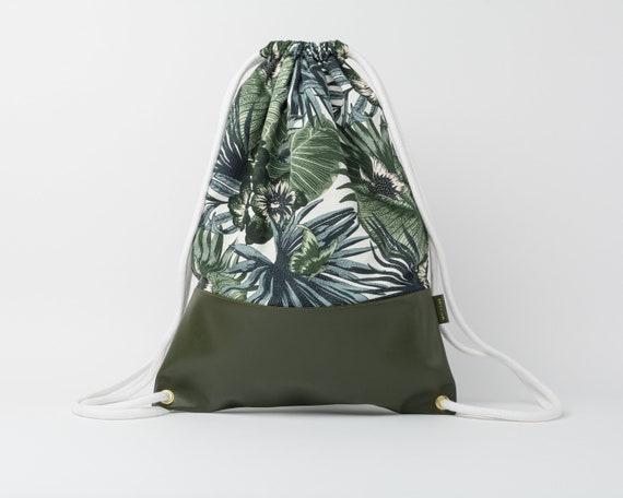 Drawstring Backpack / Cotton & Leather Backpack / Drawstring Bag / Women's Backpack / Gym Bag / Festival Backpack / Palm Trees Pattern