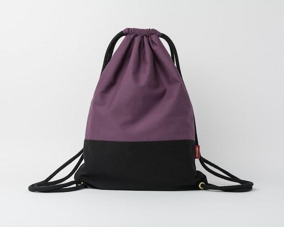 Drawstring Backpack / Cotton Fabric Backpack / Drawstring Bag / Women's Backpack / Gym Bag / Festival Backpack / Black & Purple