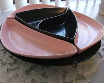 California Potteries MCM Snack Set with Lazy Susan.