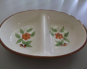"Stangle ""Bittersweet"" Oval Divided Serving Bowl"