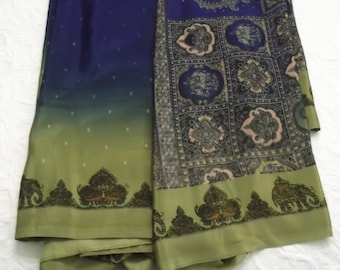 Indian Sari Blue Gold Sari Fabric with Blouse