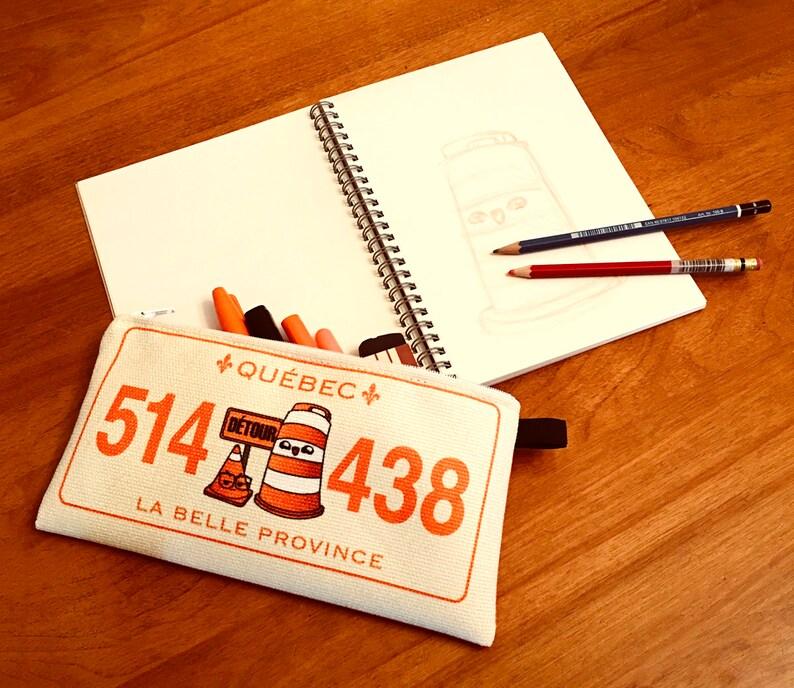 Pencil case Ponto the road barrel vintage Montreal license plate