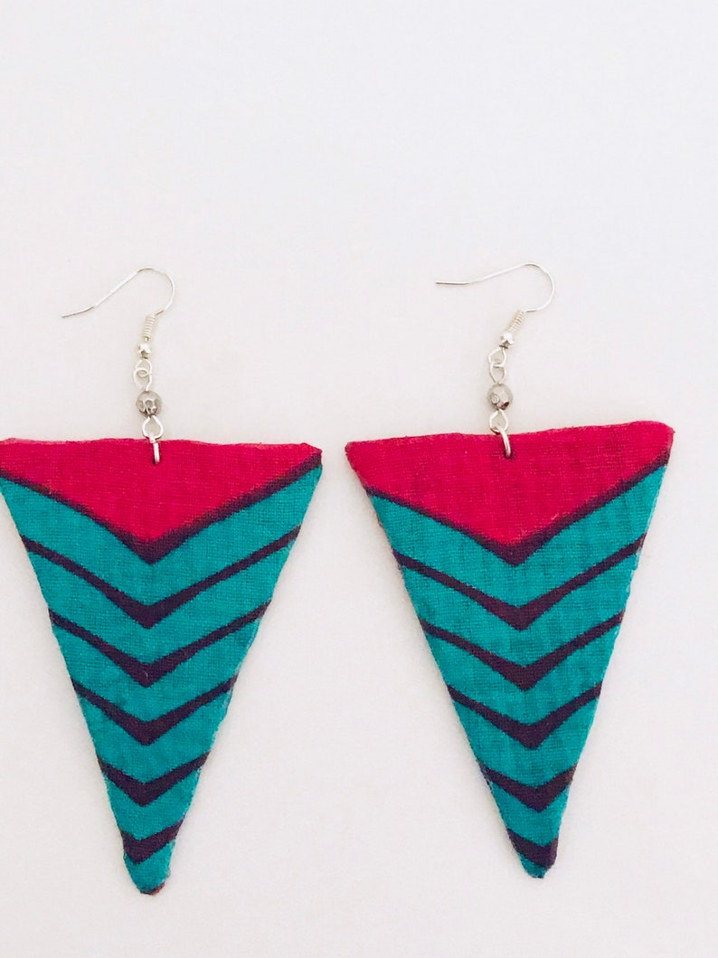 triangle statement earrings pink earrings African jewellery Ankara triangle earrings African print dangle earrings turquoise earrings