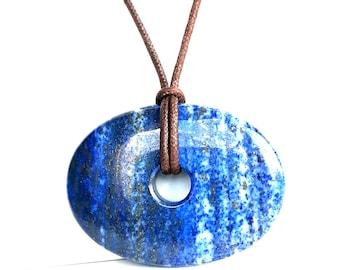 Large Lapis Lazuli Pendant, Deep Blue, Long Necklace with Vegan Cotton Cord, Oval Shape Lapis Jewelry