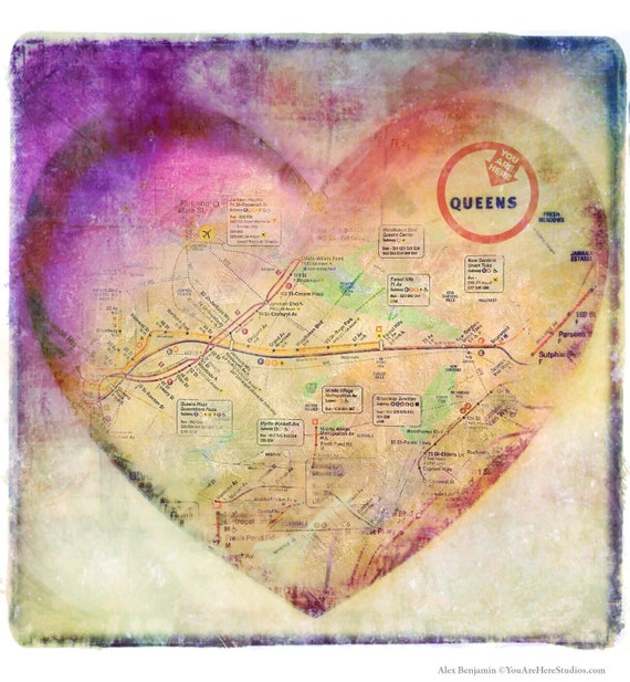 Ny Subway Map 7 Train.Queens Heart Map Trains Photography 7 Train New York City Nyc Pink Subway Free Shipping