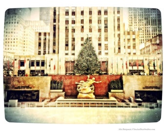 Rockefeller Center, Holiday, Winter, Christmas Tree, New York City, NYC, Vintage, rink, FREE SHIPPING!