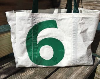 Sail Number 6 One of a kind XLG Sea Bag handmade from Recycled sail cloth with Tell Tail