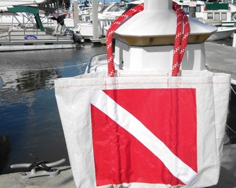 Diver Down Flag XLG sail bag with red stitching from recycled sail cloth