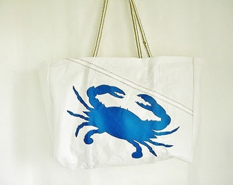 XLG Maryland Blue CRAB bag, Made to Order, from recycled sail cloth