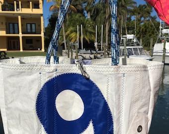 Sail Number #9 Sail Cloth Bag, XLG tote, handmade by SailAgainBags