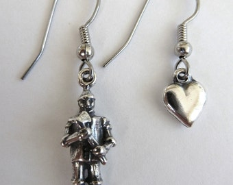 Sterling Silver Wizard of Oz Tinman and Heart Oz Earrings