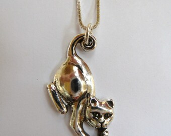 Sterling Silver Cat Holding Red Garnet, Blue Topaz, Golden Citrine Green Peridot, or Amethyst Stone Necklace