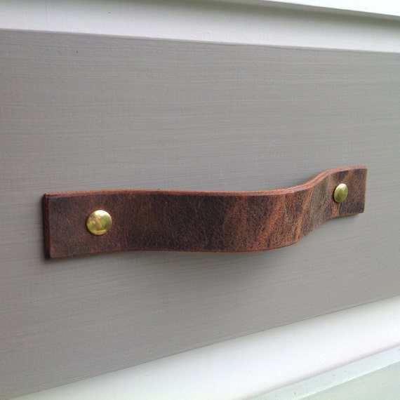 Vintage Brown, Leather drawer pull for furniture, doors, boxes, etc.