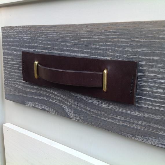 Dark Brown, 2 piece Leather pull with Brass brackets