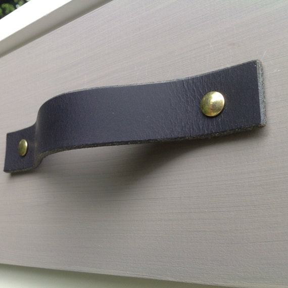 Matte Black, Leather drawer pull for furniture, doors, boxes, etc.