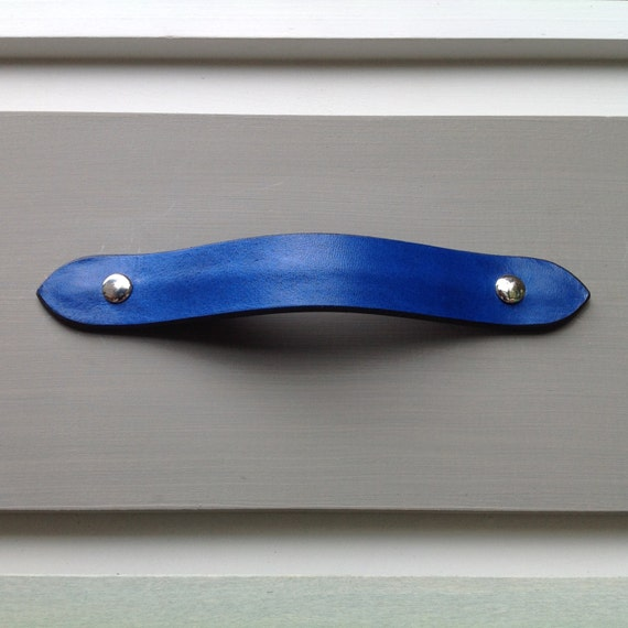 Blue, Leather drawer pull, english ends