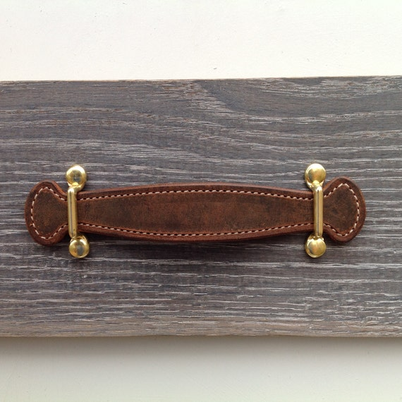 Vintage Brown, Leather pull with Brass brackets