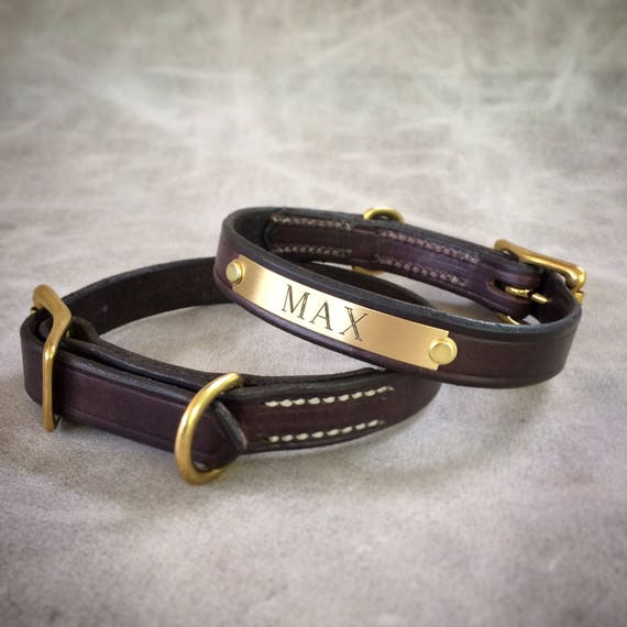 Small leather dog collar with plate