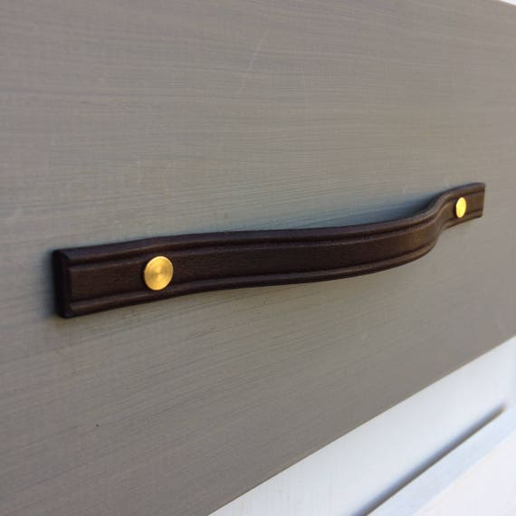 narrow width, brown Leather Furniture Pull, square ends