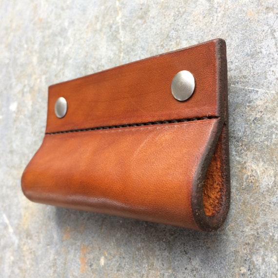 Tan, Stitched Leather Loop for Furniture Hardware