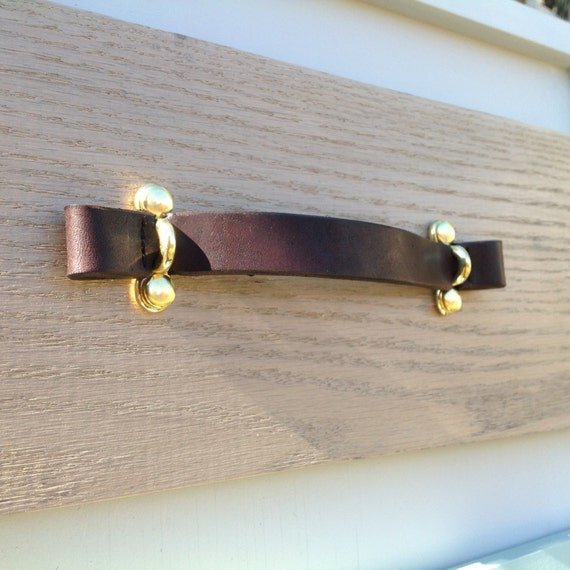 Dark Brown, Leather pull with Brass brackets