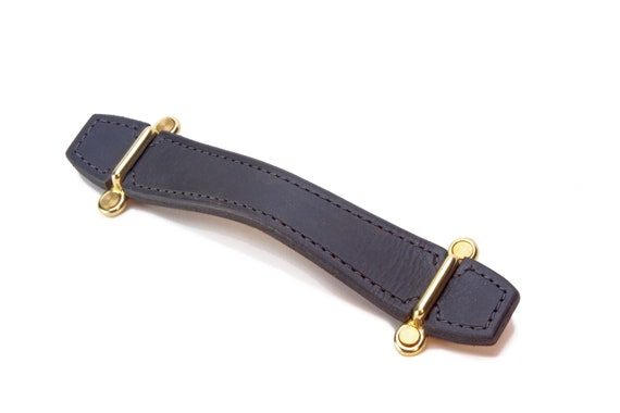 Matte Black, Leather pull with Brass brackets