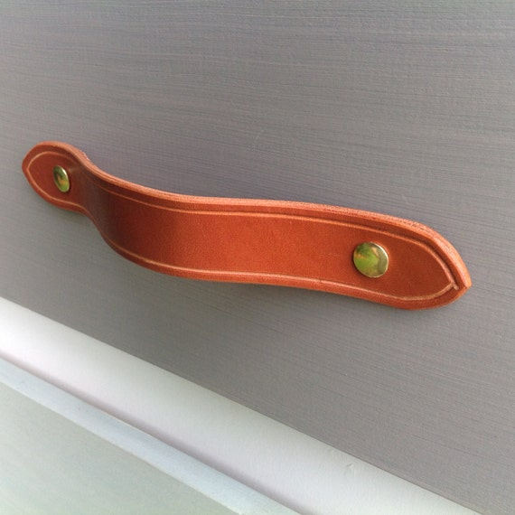 Saddle Tan, Leather drawer pull for furniture, doors, boxes, etc.