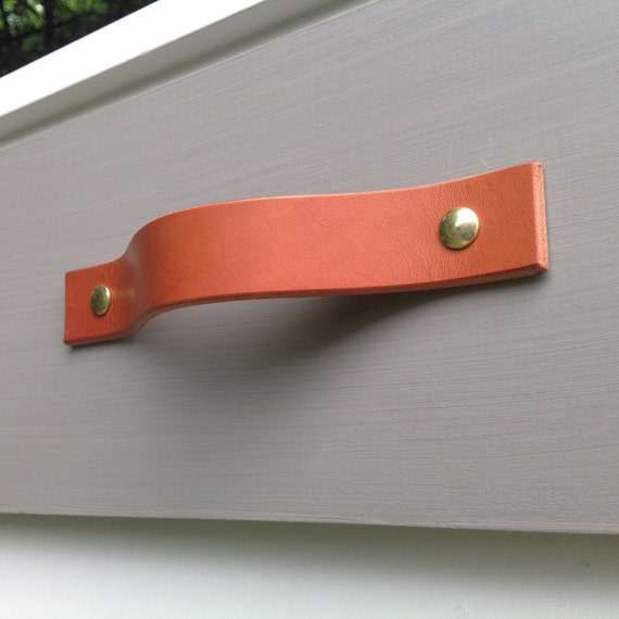 London Tan, Leather drawer pull for furniture, doors, boxes, etc.
