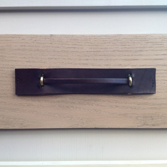 Dark Brown, 2 piece Leather pull with Brass brackets