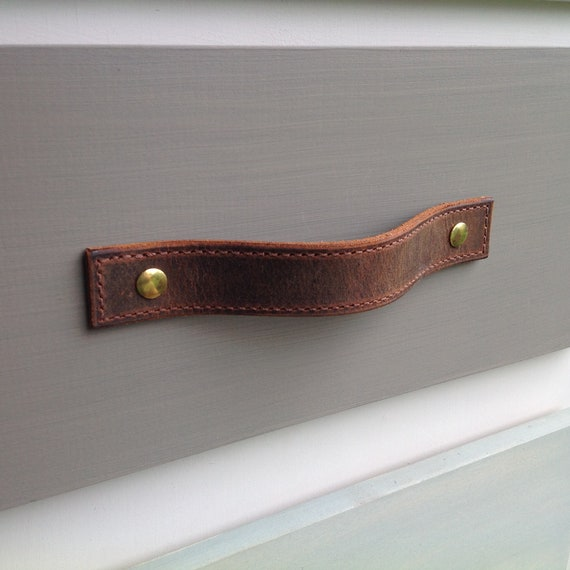 Leather drawer pull for furniture, Single thickness, Stitched, Vintage Brown, Vintage Gray