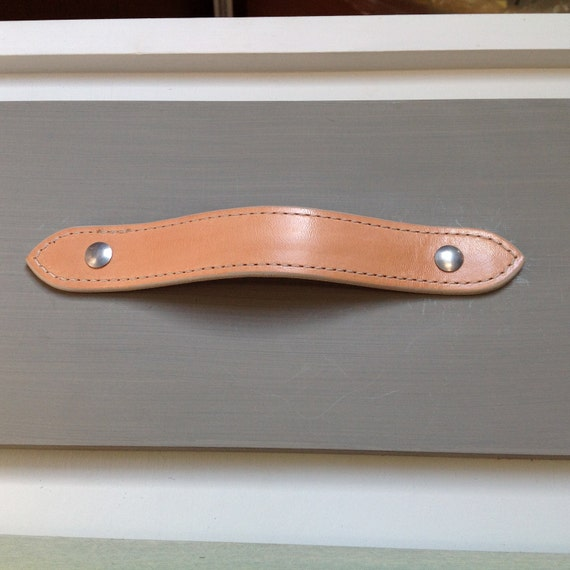 Natural Veg Tan, Leather drawer pull for furniture, contoured body, edge stitched, english ends