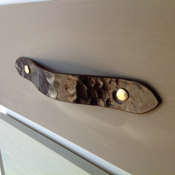 Leather drawer pull for furniture, doors, boxes, and cabinets