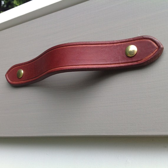 Burgundy brown,  Leather drawer pull for furniture, doors, boxes, etc.